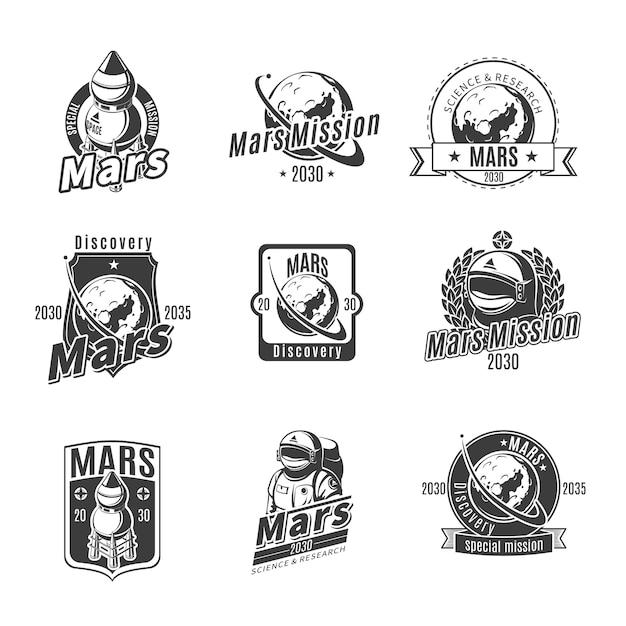 Vintage monochrom mars research labels set Kostenlosen Vektoren