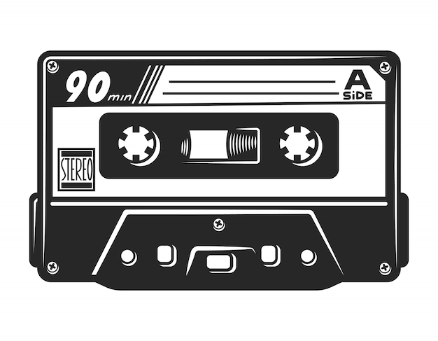Vintage monochrome audio-kassettenschablone Kostenlosen Vektoren