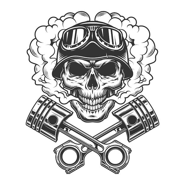 Vintage monochrome bikerschädel Kostenlosen Vektoren