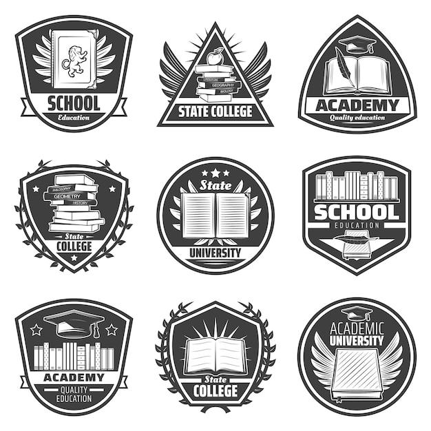 Vintage monochrome bildungsetiketten mit inschriften bücher diplom zertifikat apfel federn abschlusskappe isoliert Kostenlosen Vektoren