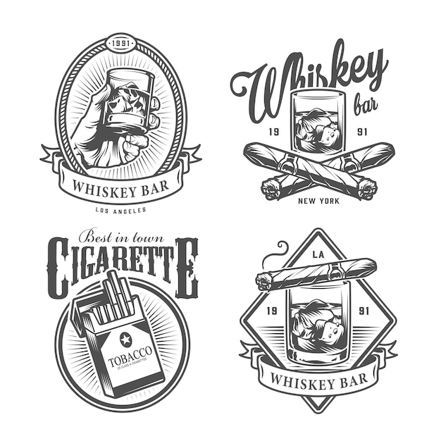 Vintage monochrome gentleman club labels Kostenlosen Vektoren