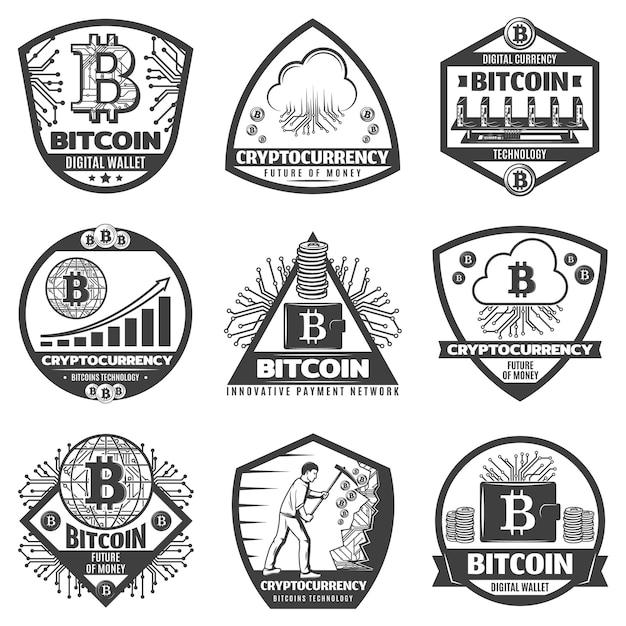 Vintage monochrome kryptowährungsetiketten, die mit bitcoin-zeichennetzwerkserver-computerhardwaregraphen gesetzt werden, bergbauprozessmünzen isoliert Kostenlosen Vektoren