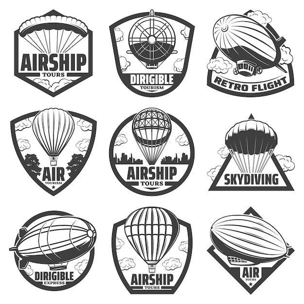 Vintage monochrome luftschiff-etiketten mit inschriften heißluftballons luftschiffe und luftschiffe isoliert Kostenlosen Vektoren