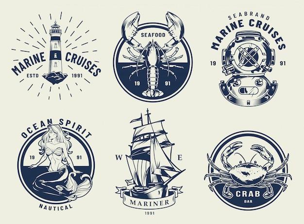 Vintage monochrome nautische embleme gesetzt Kostenlosen Vektoren