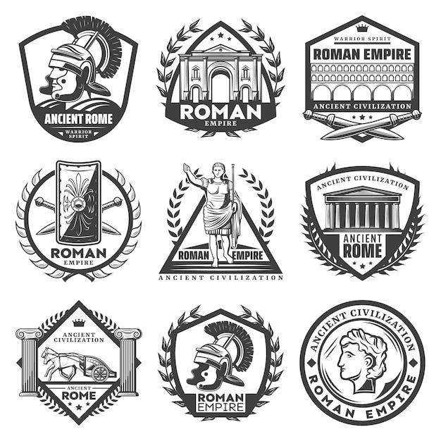 Vintage monochrome römische reichsetiketten mit alten caesar-gebäuden Kostenlosen Vektoren