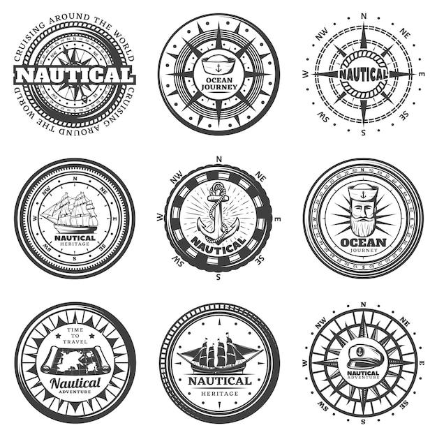 Vintage monochrome runde nautische etiketten set Kostenlosen Vektoren