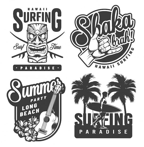 Vintage monochrome surf-embleme Kostenlosen Vektoren