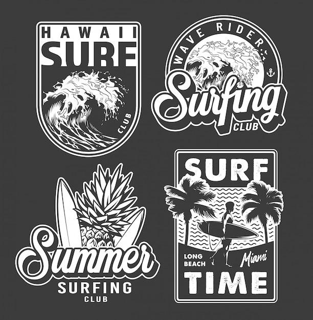 Vintage monochrome surfclub-labels Kostenlosen Vektoren