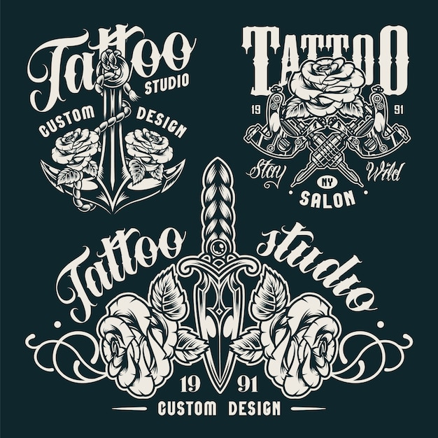 Vintage monochrome tattoo salon embleme Kostenlosen Vektoren
