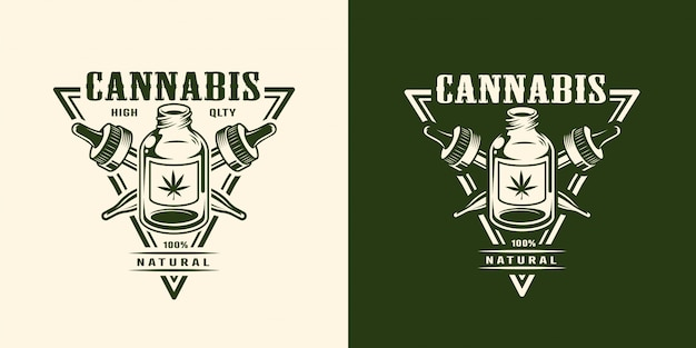 Vintage monochromes cannabis-logo Kostenlosen Vektoren