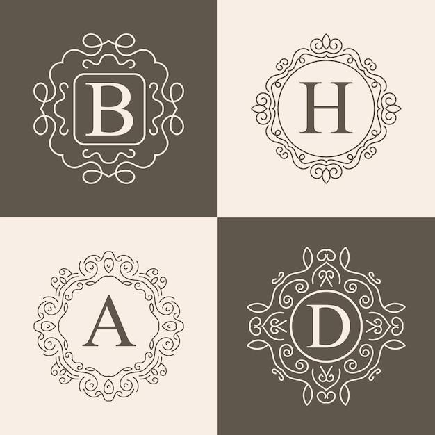 Vintage monogramm logo festgelegt Premium Vektoren