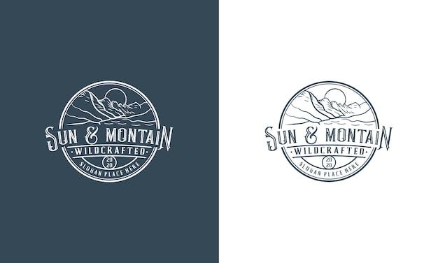 Vintage mountain adventure logo design vorlage Premium Vektoren