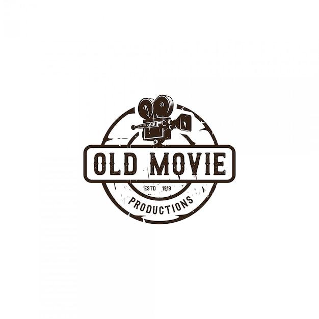 Vintage movie maker emblem logo Premium Vektoren