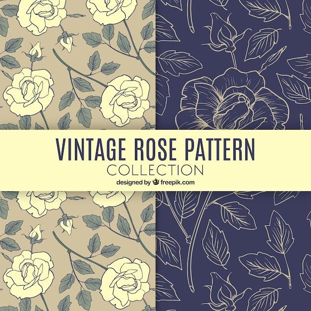Vintage Muster von Hand gezeichneten Rosen Kostenlose Vektoren