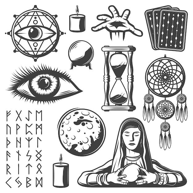 Vintage mystische elemente eingestellt mit dritten auge wahrsager kerze tarotkarten sandglas kristallkugel mond runenalphabet magische symbole isoliert Kostenlosen Vektoren