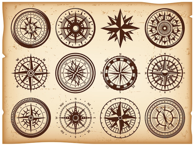 Vintage nautical compasses icons set Kostenlosen Vektoren