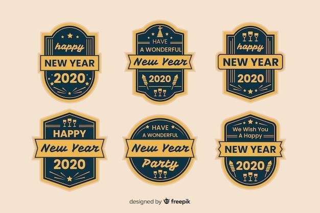 Vintage neujahr 2020 etikettendesign Kostenlosen Vektoren