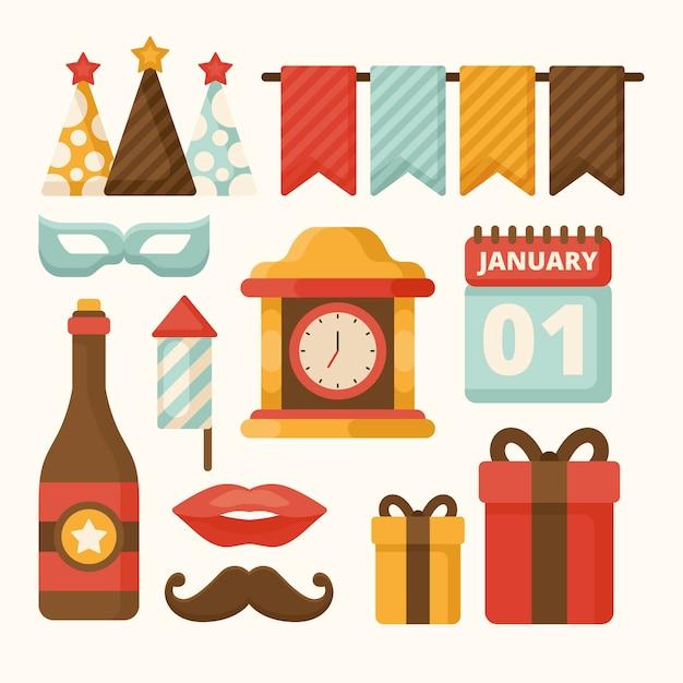 Vintage neujahr party element sammlung Kostenlosen Vektoren
