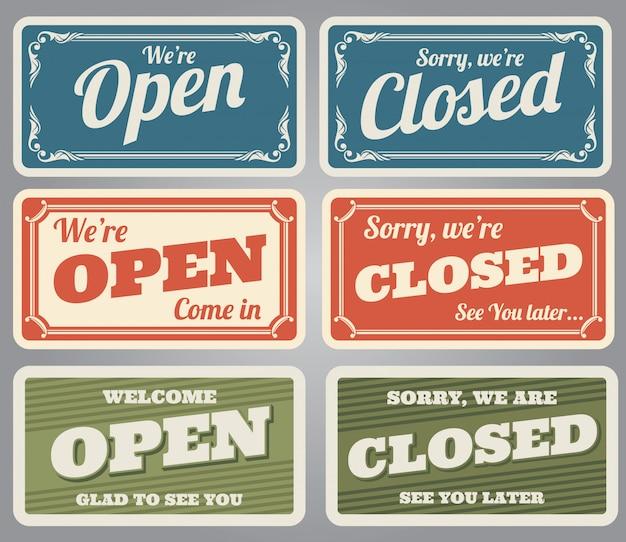 Vintage offene und geschlossene ladenschilder Premium Vektoren