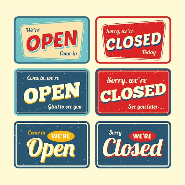Vintage offene und geschlossene schildpackung Kostenlosen Vektoren