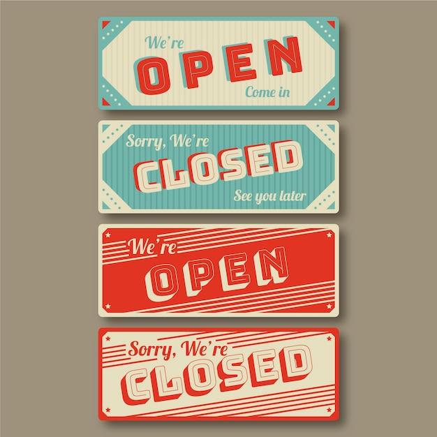 Vintage offene und geschlossene schildsammlung Kostenlosen Vektoren