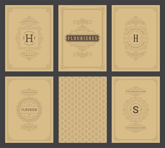 Vintage ornament grußkarten set vorlagen gedeiht zierrahmen und muster Premium Vektoren