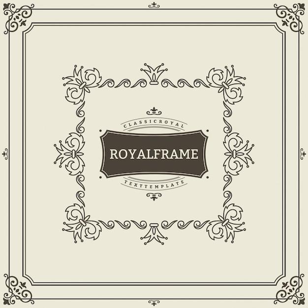 Vintage ornament grußkartenvorlage. retro luxuseinladung, königliches zertifikat. schnörkel rahmen. Premium Vektoren