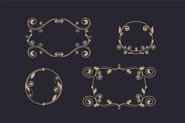 Vintage ornamentrahmen sammlung Kostenlosen Vektoren