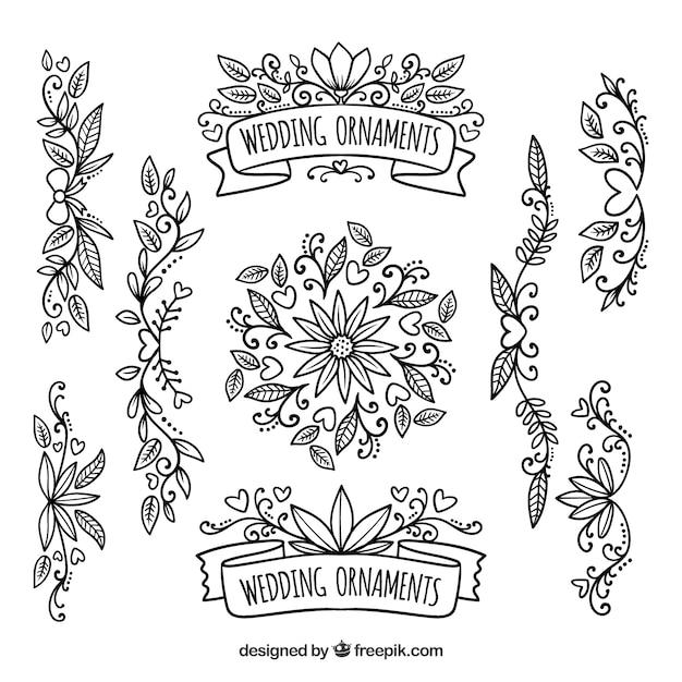 Vintage Pack Von Blumen Hochzeit Ornamente Download Der