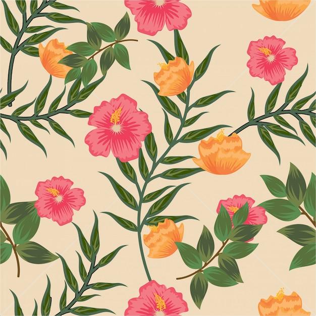 Vintage pastell farbe floral flower nahtlose muster Premium Vektoren