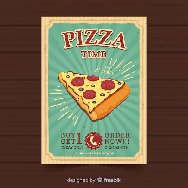 Vintage pizza broschüre vorlage Kostenlosen Vektoren