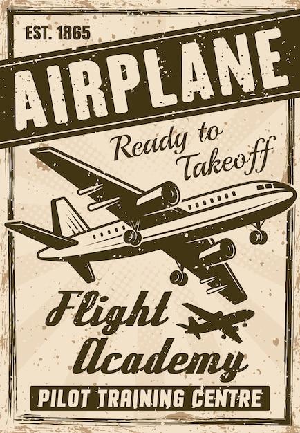 Vintage-plakat der flugakademie für werbeinstitution, geschichtete illustration mit flugzeug, überschrift, beispieltext und grunge-texturen Premium Vektoren