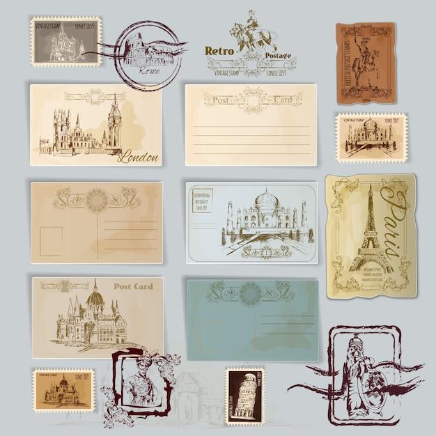 Vintage postkarten-set Kostenlosen Vektoren