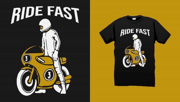 Vintage racer t-shirt design Premium Vektoren