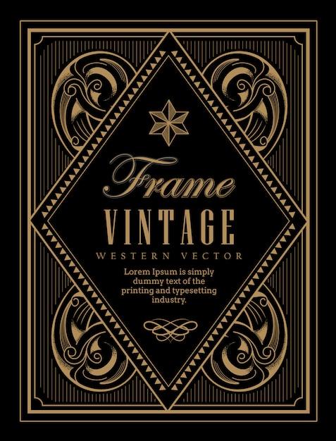 Vintage rahmen label western retro grenze gravur antike Premium Vektoren