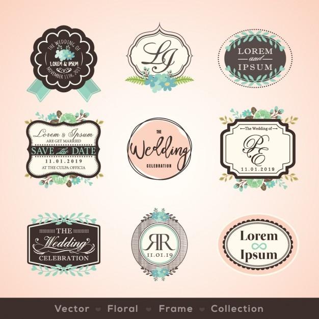 Vintage-Rahmen und Design-Elemente für Hochzeit, Einladung Geburtstag Glückwunschkarten Kostenlose Vektoren