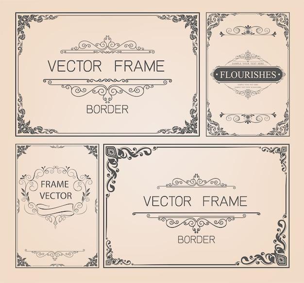 Vintage-rahmen und grenzen gesetzt Premium Vektoren