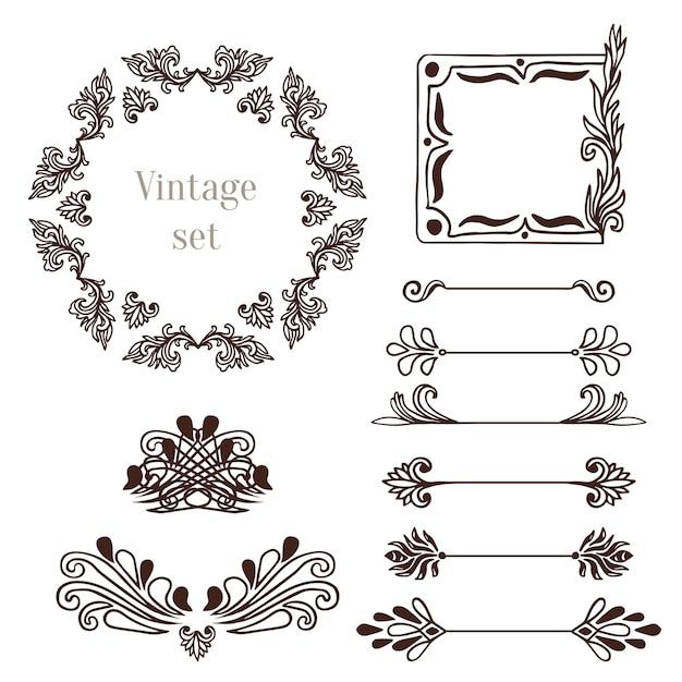 Vintage-rahmen und randelemente. vektor dekoration sammlung Premium Vektoren