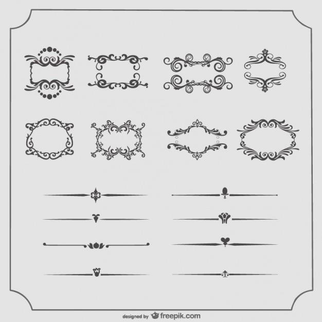 Vintage-rahmen und text teiler vektor-sammlung Kostenlosen Vektoren