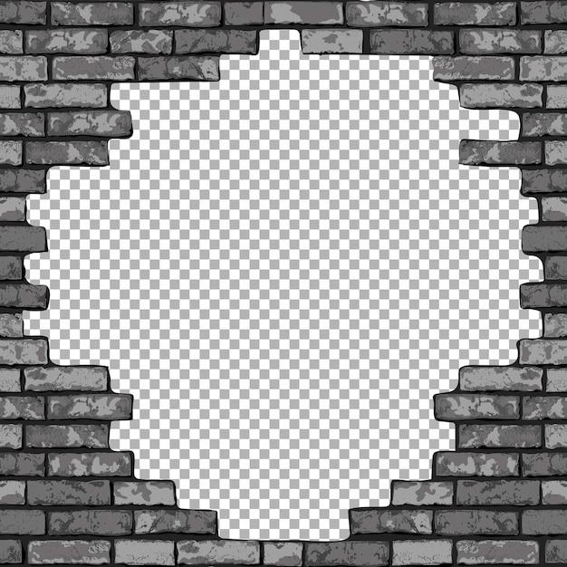Vintage realistische gebrochene backsteinmauer transparenten hintergrund. schwarzes loch in flacher wandbeschaffenheit. graues strukturiertes mauerwerk Premium Vektoren