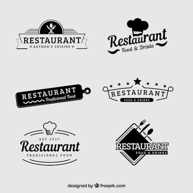 Vintage reihe von retro-restaurant-logos Kostenlosen Vektoren