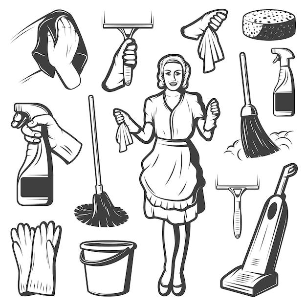 Vintage reinigungsservice elemente sammlung Premium Vektoren