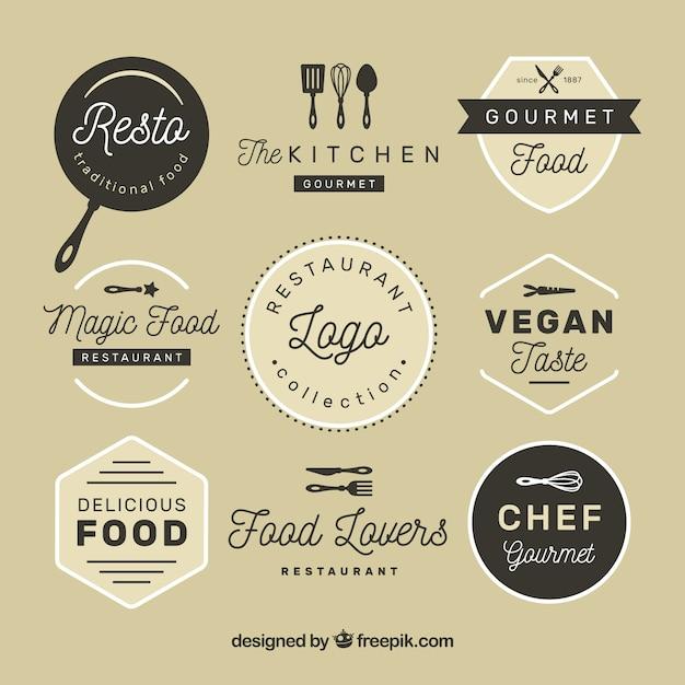 Vintage restaurant logos mit abzeichen design Kostenlosen Vektoren