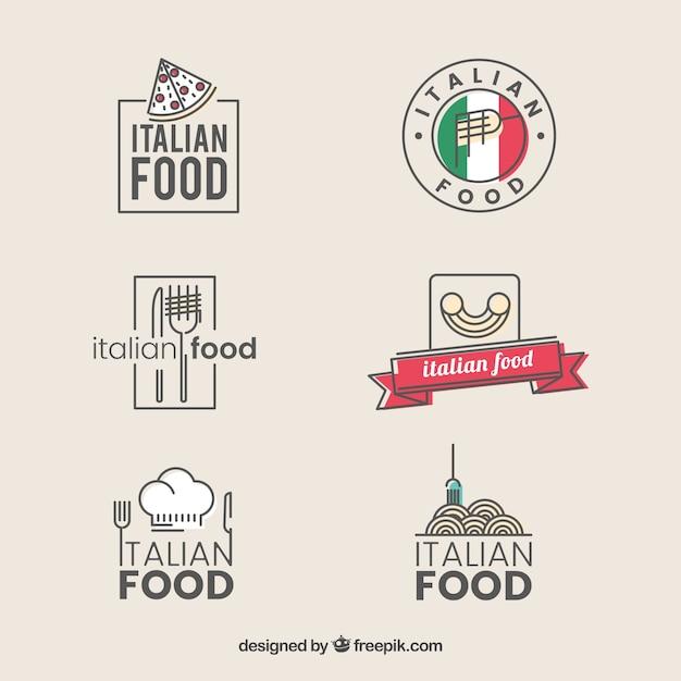 Vintage restaurant logos sammlung von italienischen Kostenlosen Vektoren