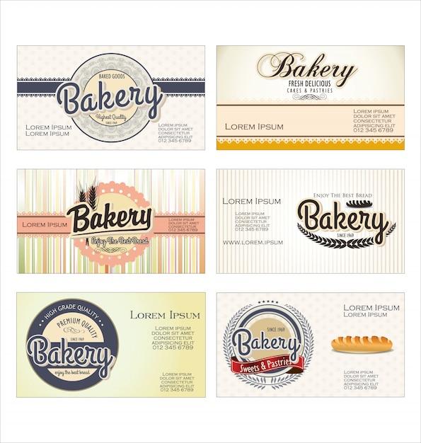 Vintage retro bäckerei etiketten und altes papier Premium Vektoren