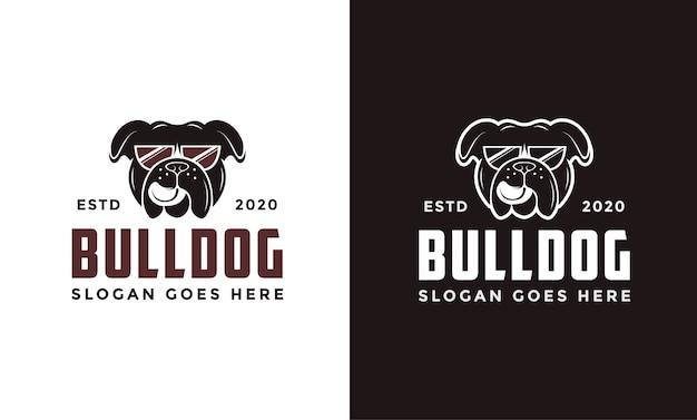 Vintage retro brille bulldogge logo Premium Vektoren