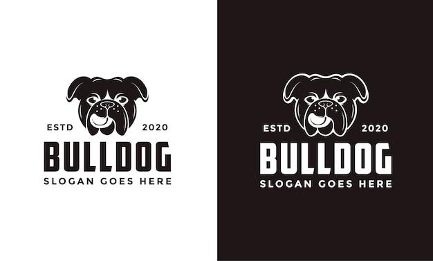 Vintage retro bulldogge logo Premium Vektoren