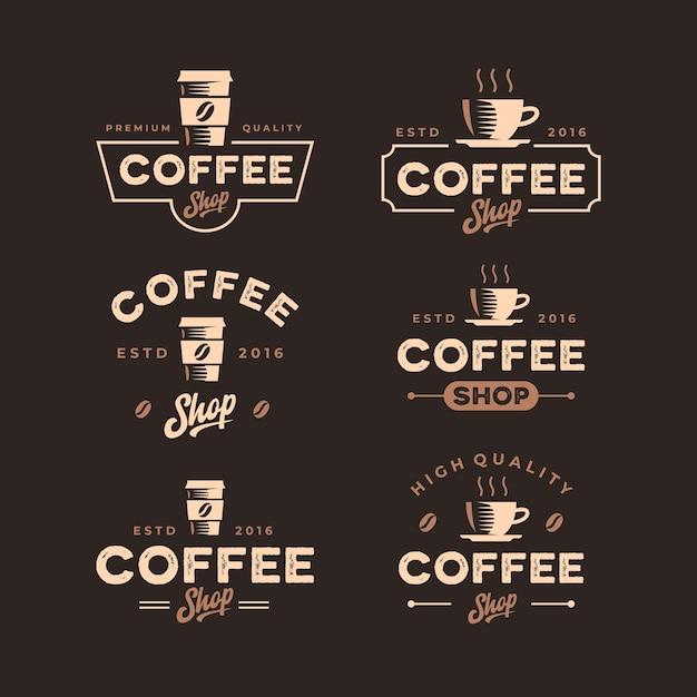 Vintage retro coffee shop logo design kollektion Premium Vektoren