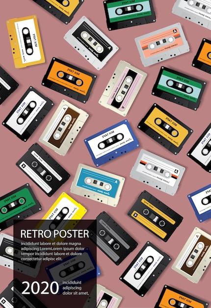 Vintage retro kassettenband illustration Kostenlosen Vektoren