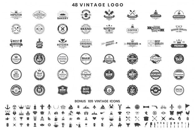 Vintage retro vector abzeichen Premium Vektoren
